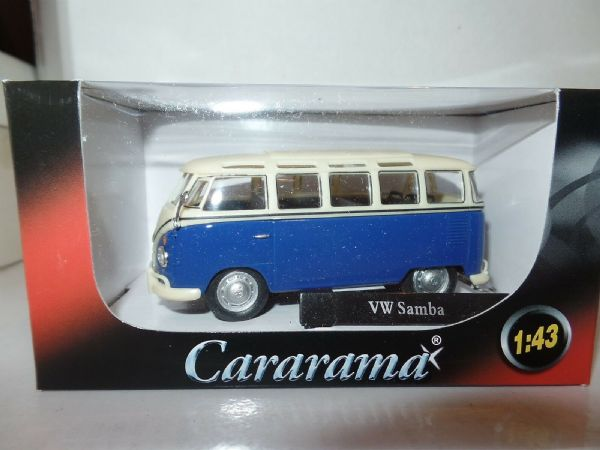 Cararama Oxford 1/43 Scal VW Volkswagon T1 Transporter Samba Bus Dark Blue Cream